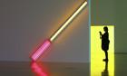 an installation made from fluorescent lights by Dan Flavin