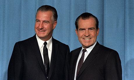 Richard Nixon and running-mate Spiro Agnew in 1968.