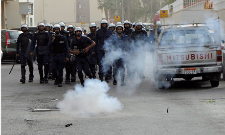 Police use sound grenades against protesters in Ras Roman, Bahrain