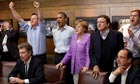 David Cameron, Barack Obama, Angela Merkel and other g8 leaders watch the campions league final