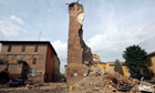 The clock tower is damaged by the earthquake in Finale Emilia, Northern Italy