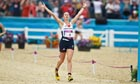 Samantha Murray of Team GB running to second place  for silver medal