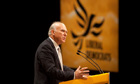 Business Secretary Vince Cable makes his speech at the Liberal Democrat conference