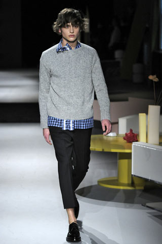 A model at the Prada men's A/W 2013-14 show at Milan fashion week