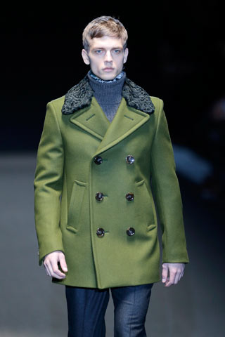 A parsley coloured coat at Gucci men's Fall/Winter 2013-14 collection at Milan fashion week