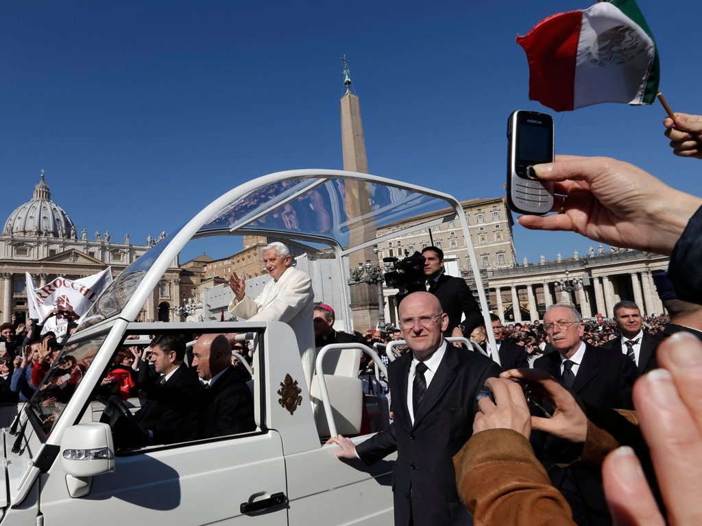 Pope Benedict XVI arrives to celebrate his last general audience in St. Peter's Square