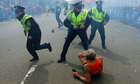 The second explosion at the finish line of the Boston Marathon