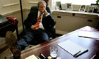 Prime Minister Tony Blair at his desk in his office at 10 Downing Street