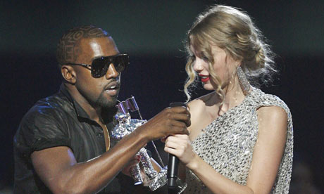 Kanye West interrupts Taylor Swift during the MTV Video Music Awards