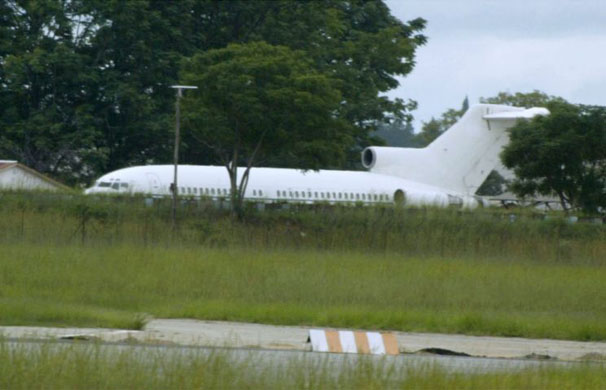 A Boeing 727-L100 parked at Manyame military airfield in Harare