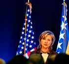 US secretary of state Hillary Clinton inaugurates the new embassy in Sarajevo.