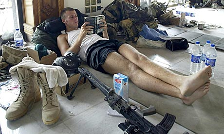 soldier reading