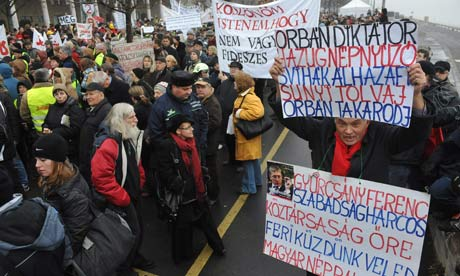 Anti-government demonstrators in Budapest
