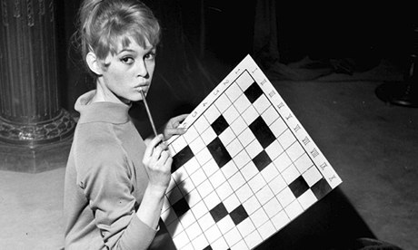 Brigitte Bardot with a crossword.
