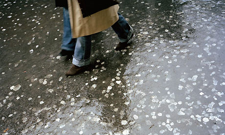 Chewing gum litters a London street. Photograph: Corbis