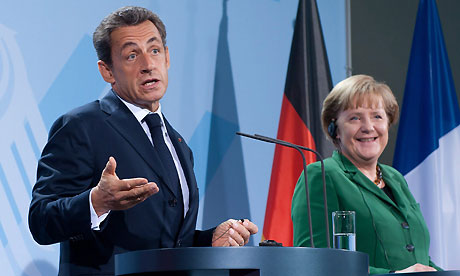 Nicolas Sarkozy and Angela Merkel in Berlin