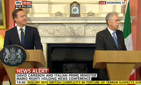 Screengrab of Sky News - Cameron meets Monti