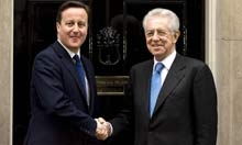 David Cameron and Italian prime minister Mario Monti at No 10 Downing Street, 18 January 2012