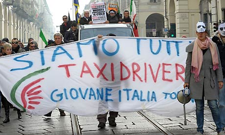 Taxi drivers march in Turin