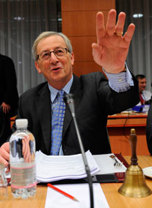 Jean-Claude Juncker at a Eurogroup Council meeting  in Brussels on 9 February.