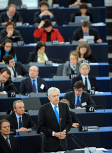 Italian premier Mario Monti delivers a speech in the European Parliament, 15 February 2012.