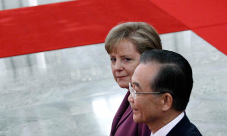 Angela Merkel and Wen Jiabao at an official welcoming ceremony in Beijing.