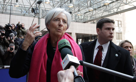 Christine Lagarde arrives for a meeting of eurozone ministers in Brussels on Monday, Feb. 20, 2012.