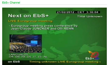 A live video stream on the European Commission's web site