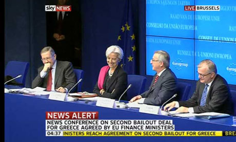The Eurogroup holds a press conference after agreeing a second financial package for Greece.