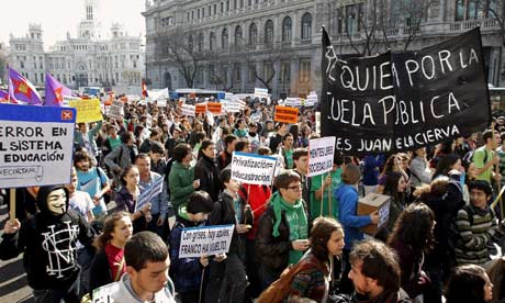 Spanish students hold rally in Madrid against education cuts.