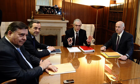 Lucas Papademos (2nd R), George Karantzaferis (L), Antonis Samaras (2nd L) and George Papandreou.