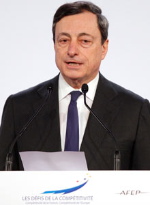 ECB President Draghi delivers a speech during the