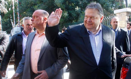 Evangelos Venizelos votes for the new leader of PASOK Socialist party.