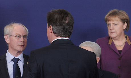 David Cameron talks with Herman van Rompuy and Angela Merkel