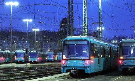 Subway trains are parked in a depot in Frankfurt, Germany, during a public sector strike.