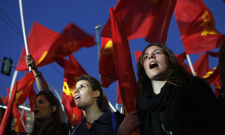 Greek Communist Party protest in Athens, Greece - 20 Mar 2012
