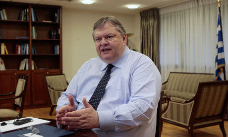 Greek Finance Minister Evangelos Venizelos in his office in Athens March 5, 2012.