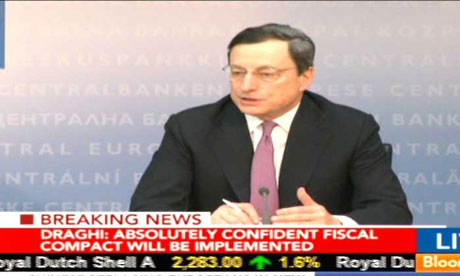 Mario Draghi speaking at ECB press conference on March 7 2012.