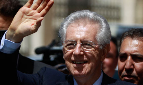 Italy's Prime Minister Mario Monti on a visit to Bethlehem