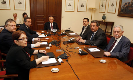 Greek parties meet with President Karolos Papoulias