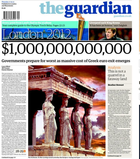 Guardian front page, May 17 2012.