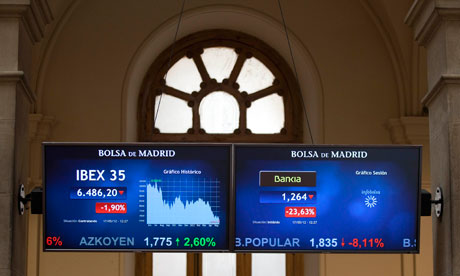 An information panel displays Bankia and IBEX 35 trading  at the Madrid stock exchange