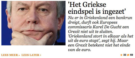 De Standaard interview with Karel De Gucht, May 18th.