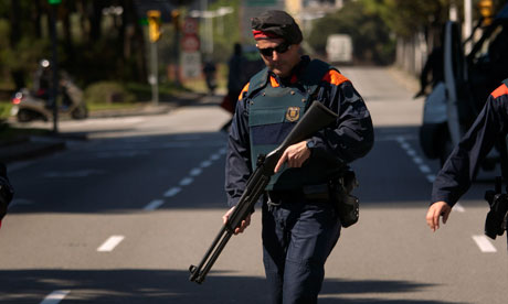 Police officer in Barcelona, where the European Central Bank is meeting.