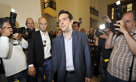Greek leftist coalition Syriza leader Alexis Tsipras.