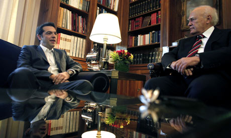 Alexis Tsipras of the Syriza coalition, with Greek President Karolos Papoulias.
