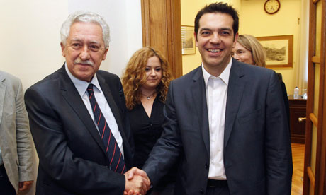 Coalition of the Radical Left (SYRIZA)'s Alexis Tsipras and Democratic Left leader Fotis Kouvelis