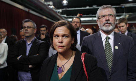 Sinn Fein president Gerry Adams and Vice President Mary Lou McDonald at Dublin Castle