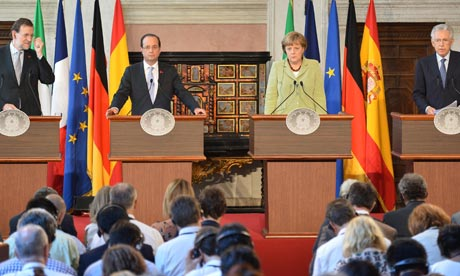 Spain's Mariano Rajoy, France's Francois Hollande, Germany's Angela Merkel and Italy's Mario Monti