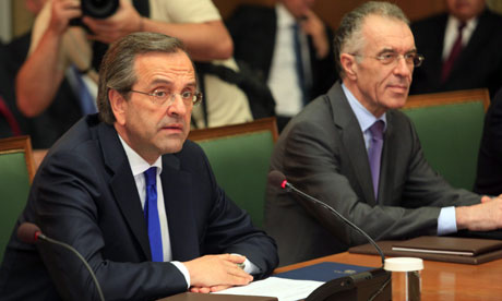 New Greek prime minister Antonis Samaras (L) and Vassilis Rapanos (R), appointed as finance minister